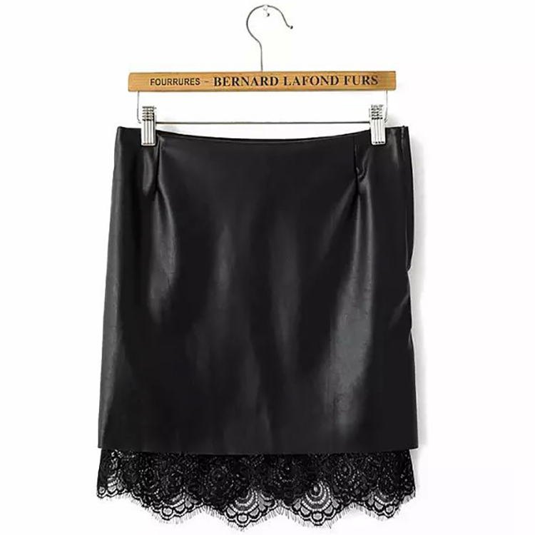 Women Pu Leather Pencil Skirt 2015 Summer Style Faux Leather Lace Skirts Bandage Autumn Black High Waist Short Skirt S M L WK69