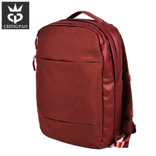 Red color gril polyester 3 compartment business laptop bag backpack