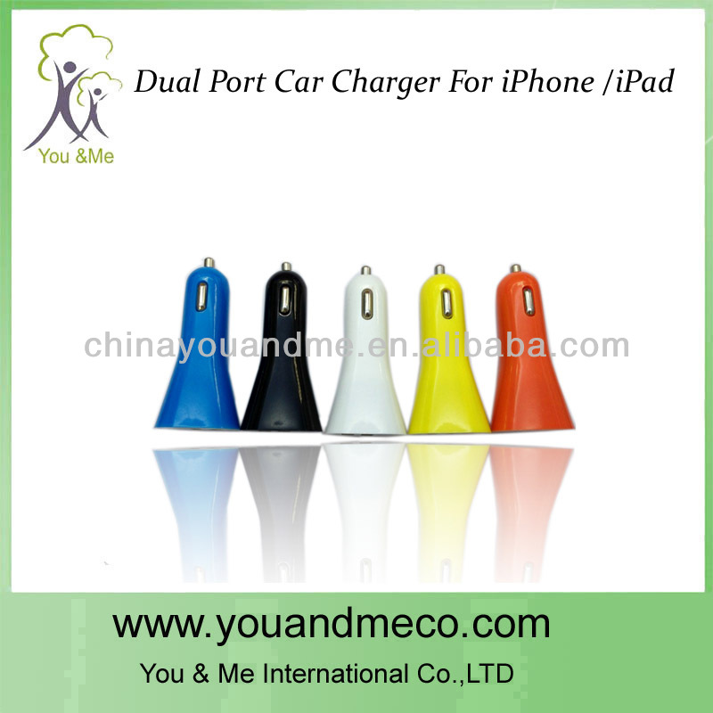 The Newest Dual make car battery charger for iPhone / iPad /Cellphone DC 12V-24V to 5V-1A 2A