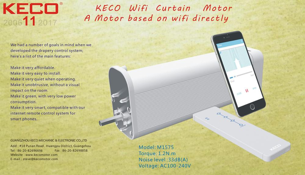 KECO Wifi Curtain Motor M1575 for quiet motorized curtain track and smart phone controlling