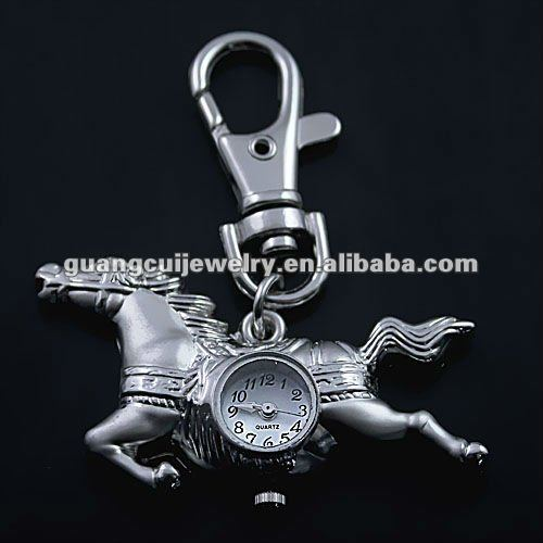 fashion horse watch key chain with watch metal coin holder keychain