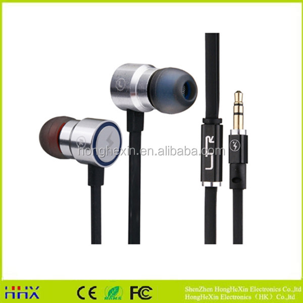 Custom OEM logo metal factory flat cable metal earphone