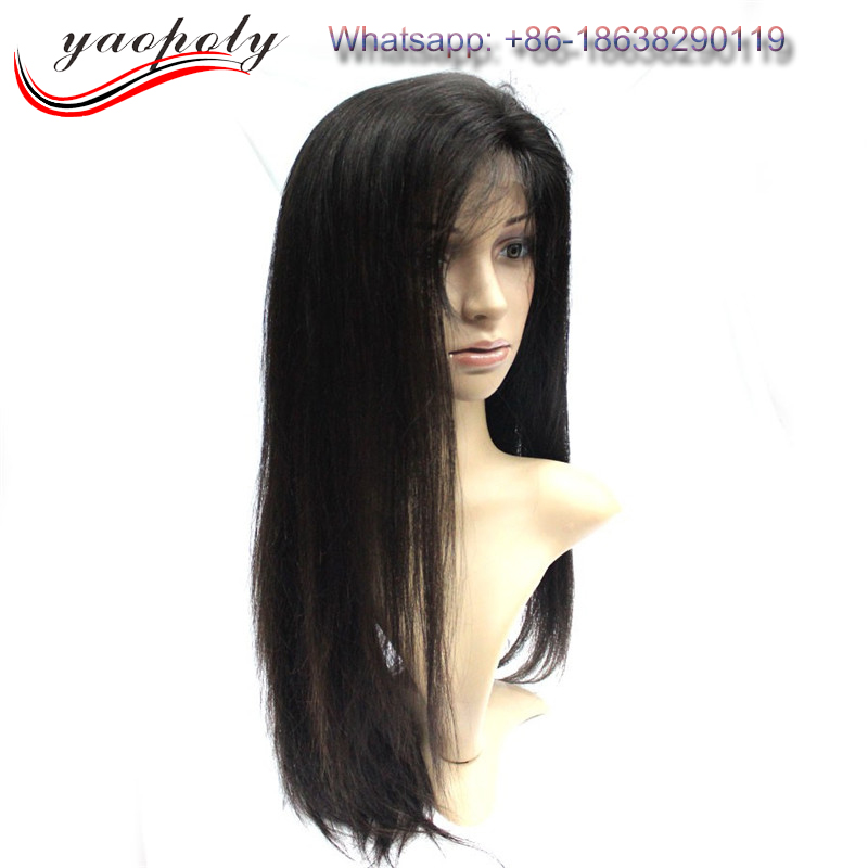 Aliexpress virgin brazilian human hair natural black silky straight silk top full lace wigs wholesale