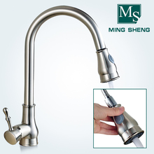 Popular Brushed Nickel Deck Mount Single Hole Single Handle Water Saving Sink Mixer Pull Down Spray Kitchen Faucets