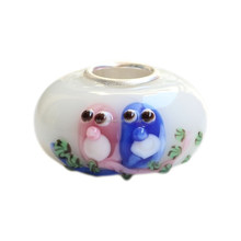 Wholesale Two Perfect Love Birds Sitting in a Tree Murano Glass Bead with 925 Sterling Silver Tube For European Bracelets