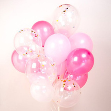 Hight quality Confetti balloon Blue Pink helium balloons Wedding or Birthday Party decoration CB054