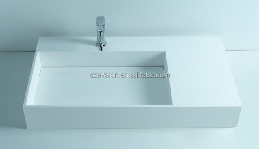 Top grade solid surface resin acrylic trough sink,solid surface wall hung wash basins