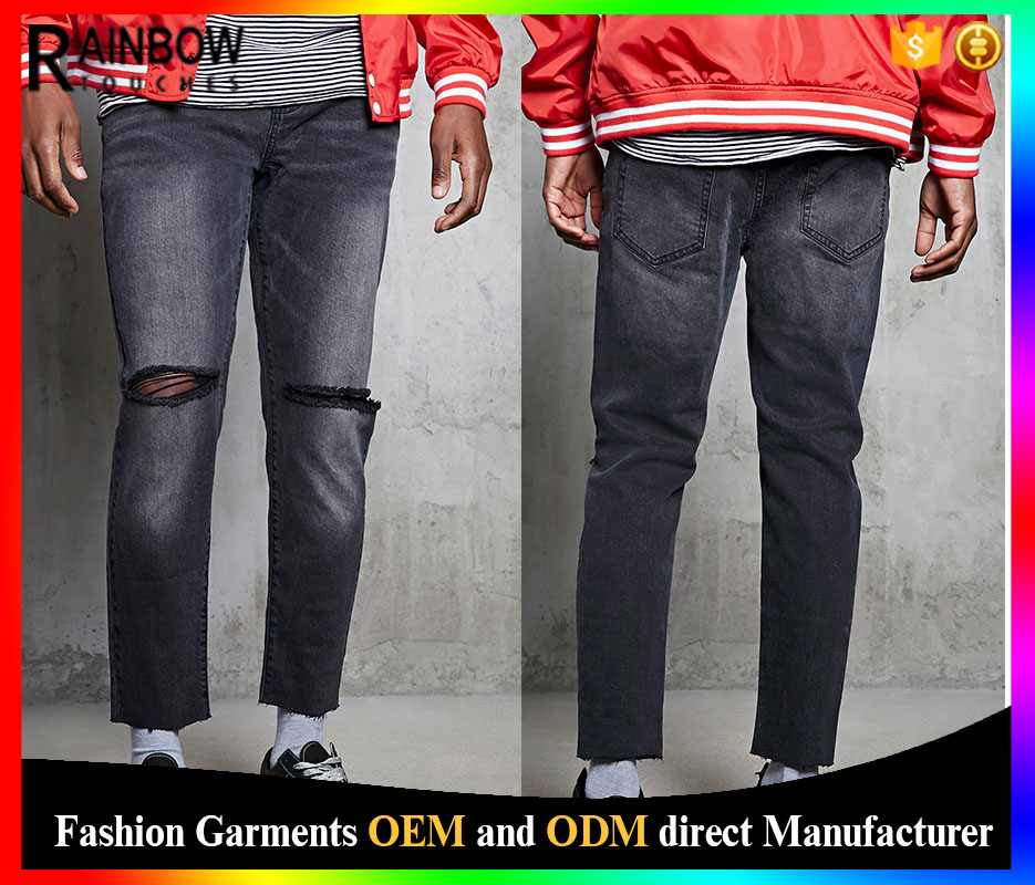Hot Sale Wholesale Distressed Design Mens Raw Hem Slim Fit Jeans In Black