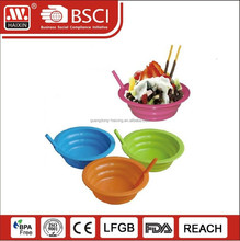 Custom wholesale decorative round salad plastic bowls and plastic ice cream bowls with straw