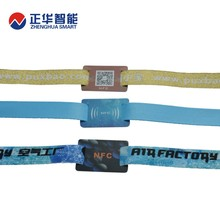 2018 Custom Fabric RFID Wristbands with disposable fastener for event