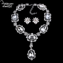 Dvacaman Brand 2017 Vintage White Crystal Jewelry Sets Women Dubai Wedding Bridal Statement Necklace&Earrings Party Gifts EE30