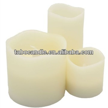 led glow candles/embedded led candle/real wax led square pillar candle