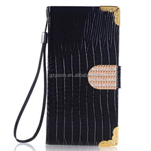 Cell phone cover for Samsung S7 diamond wallet case / top quality mobile pouch for Samsung S7 bling pu leather case