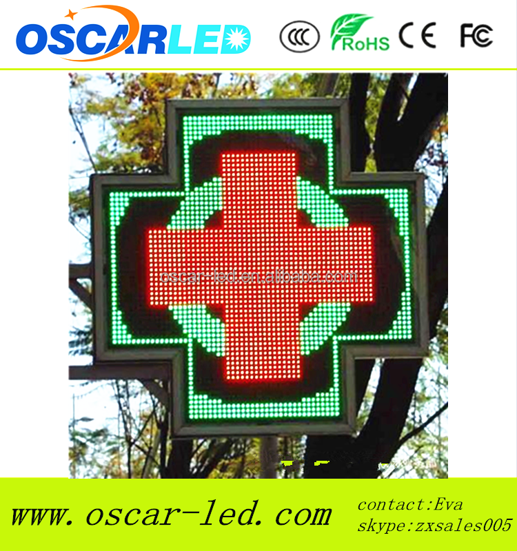 3D LED double side pharmacy cross/P16mm outdoor full color led sign pharmacy LED cross sign outdoor led cross sign