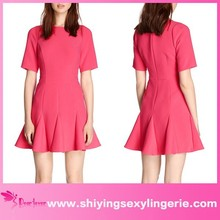 Sexy Wholesale Pink Fluted Hem Skater ladies club wear