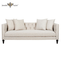 Elegant design U.K. sitting room furniture 3 seater wooden upholstered sofas