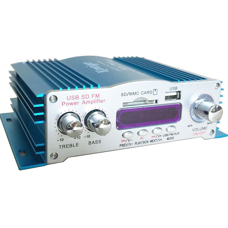 12V mini car amplifier with high quality USB / SD / FM radio