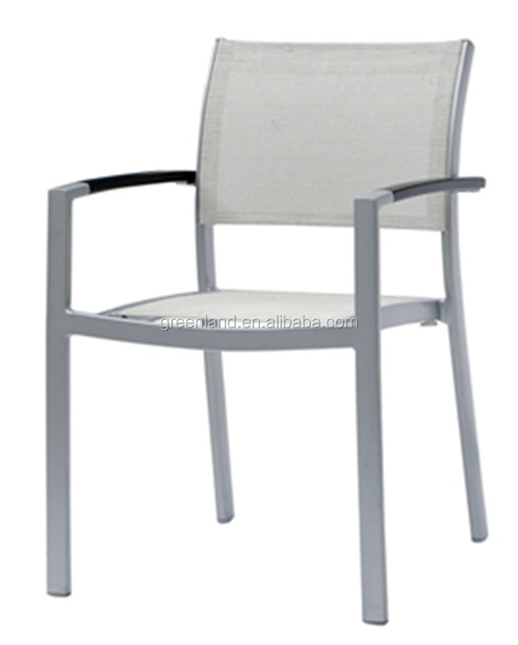 Stackable dining chair with plastic wood arm without cushion