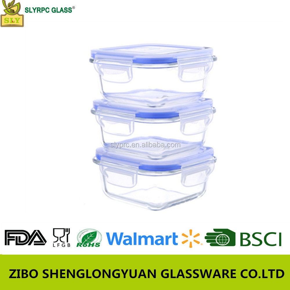Shangdong square glass container for food microwave oven vacuum lunch box