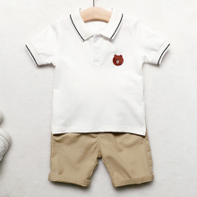 2018 wholesale kids clothing cotton summer short sleeves polo T-shirt + short pants boys two piece clothes set