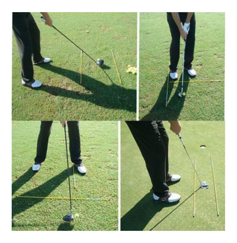 2 stücke Golf Alignment Sticks Swing Flugzeug Tour Trainingshilfe Golf Praxis Stangen Trainer Aids