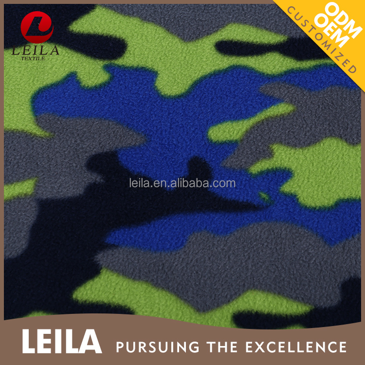 2017 latest camouflage print micro polar fleece printed fabric