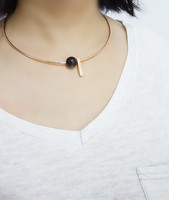 Black metal circle round collar jewelry beads vertical stick necklace bib necklace gold plated jewellery