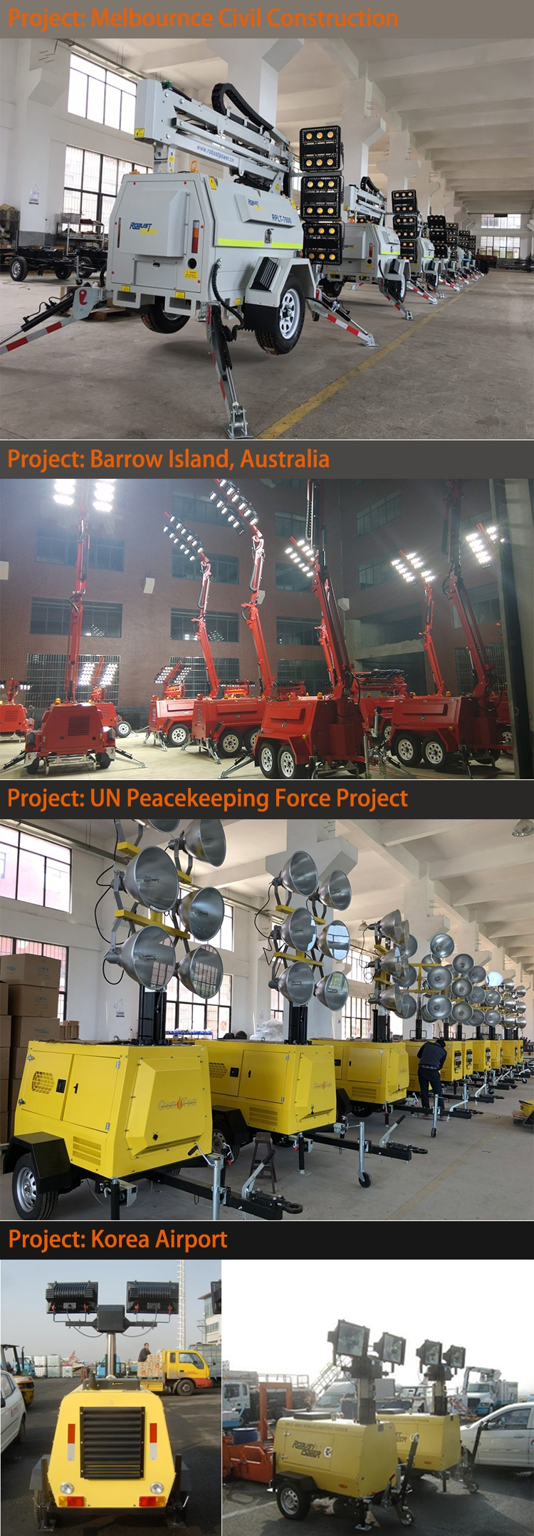 Telescopic Hydraulic Mast Mine Diesel Generator Mobile Light Tower