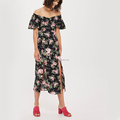 Off-the-shoulder Bardot Dress Floral Pirnted Women Dress Split Design Casual Dress
