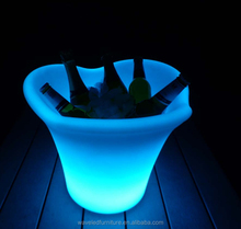 Commercial champagne cooler plastic ice bucket illuminated LED ice bucket