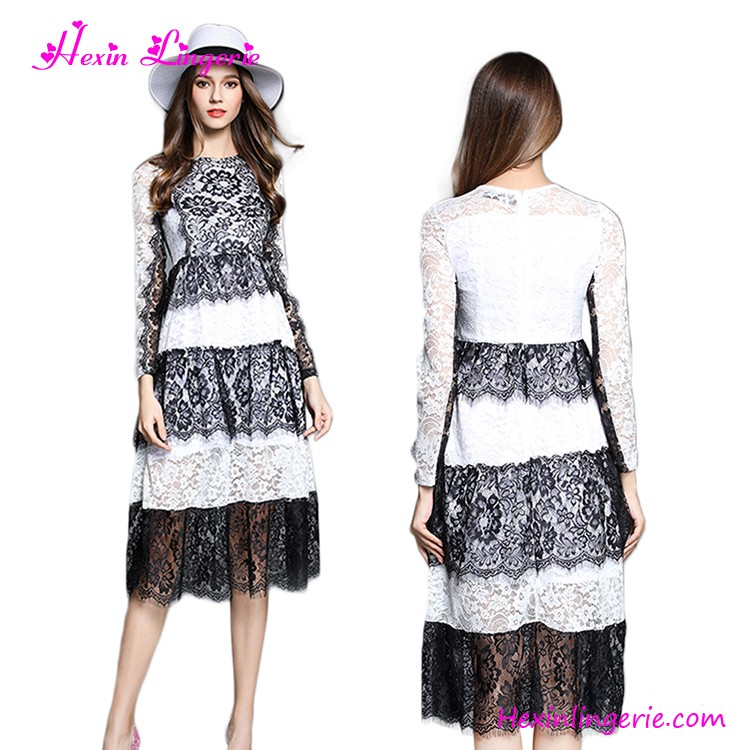 Wholesale Long Sleeves Cake Ladies Office Wear White Lace Dress Sexy