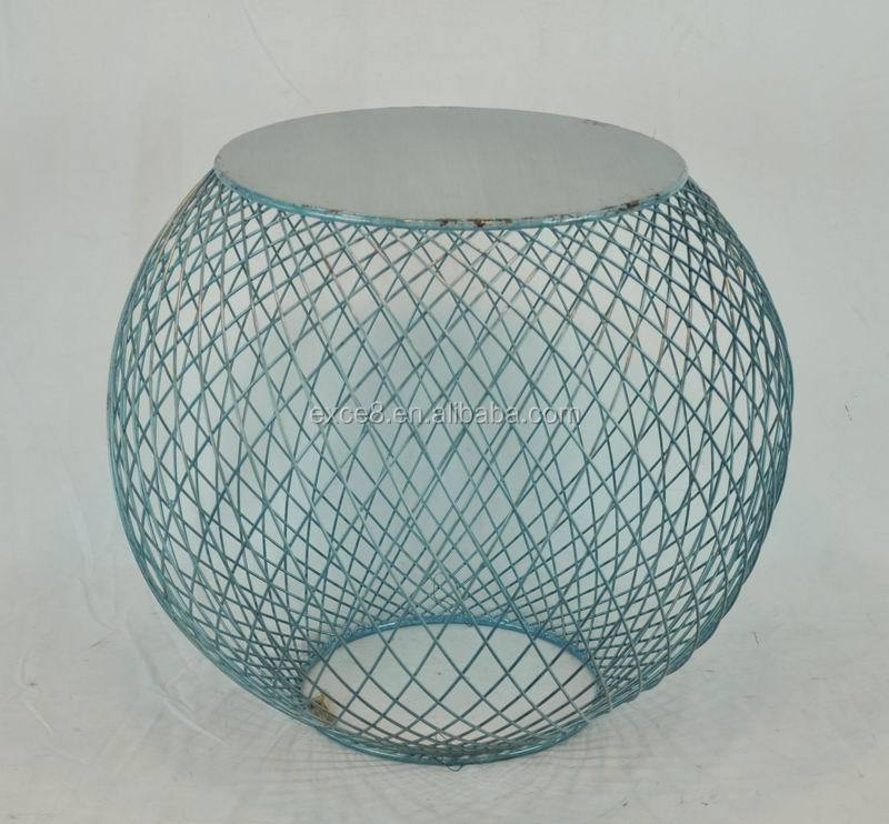 Rounded blue iron wire mesh table