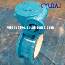 DN500 PN10 worm gear operated medium size double flange butterfly valve with actuator