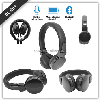 Leather headband stereo wireless black headphone for smart phone, 2018 new headset foldable headphone