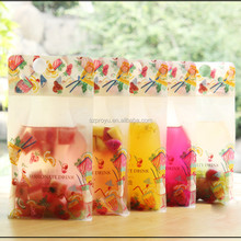 Manufacture customized self standing plastic bags coco cola packaging bags drink ziplock bag