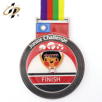 Professional medal supplier round shape hard enamel sports challenge medal holder ribbon