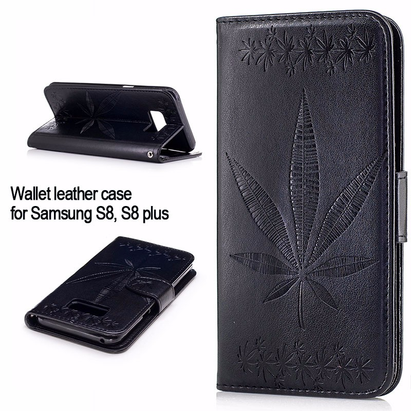 Free shipping Maple Leaf pattern wallet leather case for Galaxy S8 <strong>phone</strong> shell leather cover for samsung S8 plus flip stand case