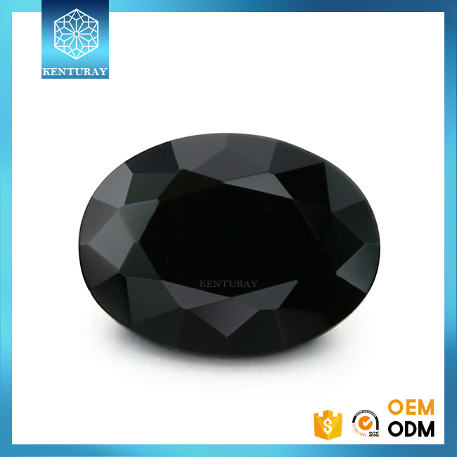 Wuzhou Diamond Cut Oval Synthetic Black Cubic ZIrconia