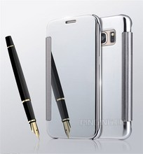 Luxury Electroplating Mirror clear View Flip Cover phone case for samsung galaxy s7 case