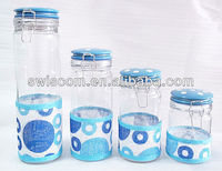 Airtight glass container canister jar set with ceramic lid SL010-S1-A5/B5/C5/D5