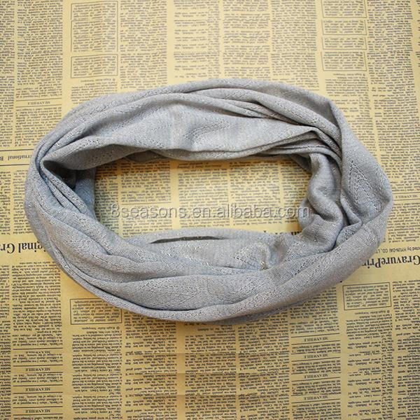 Women's Fashion Hollow style Gray Stripe Wave Pattern Knitted Orlon Scarf