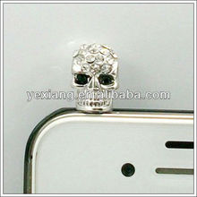 New Mobile Anti-dust Diamond Skull Dustproof Plug Ear Cap