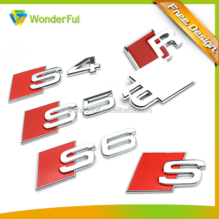 Professional Auto Accessories Factory High Quality 3M Sticker Type Shiny Chrome Plated Hard Plastic Soft Enamel S6 Car Emblem
