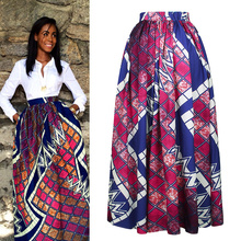 Digital printing plaid high waisted african kitenge pleated maxi long skirt for women