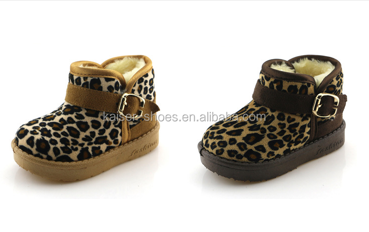 TM17-006 hot sales winter warm snow boots ,leopard microfiber with buckle kids shoes