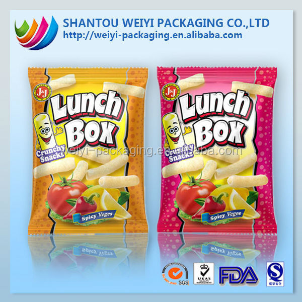 Customized Design printable polyester resealable plastic packaging bag for chips /snacks