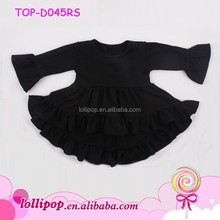 Latest children high low tops black long Sleeve cuff Ruffle Dress tunic Frills Baby Frock Design 6 Years Old Girl Wear Dress