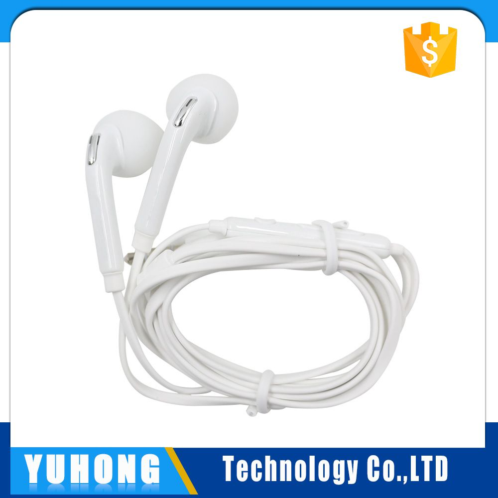 2016 Hot Sale Flat Cable Mobile Phone Wired Stereo Earphone For Samsung Galaxy S6 Edge