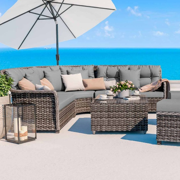 Modern Design Wicker Sectional Sofa Set Ydl Ws075 Rattan Garden