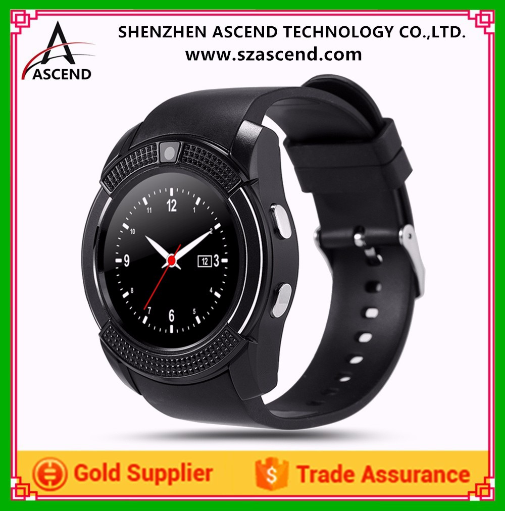 2017 Factory Wholesale V8 Android Smart Watch with Round Screen, Support Sim Card and Memory Extend